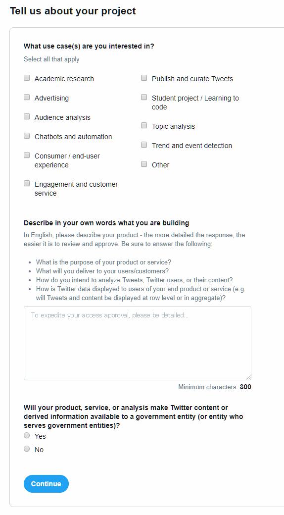 Twitter Developer プロジェクト詳細入力